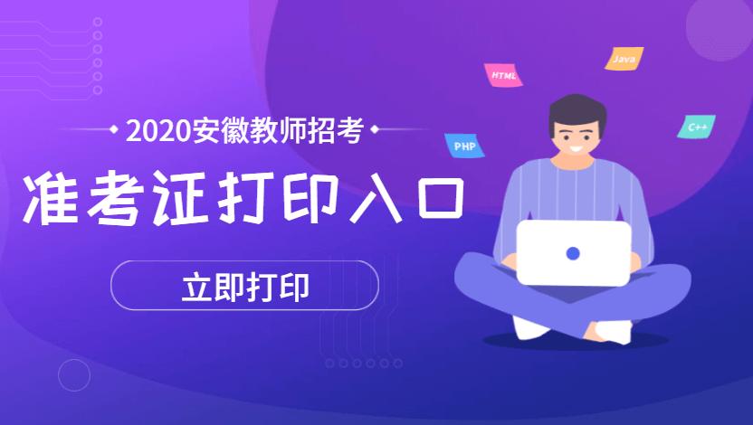 2020年安徽省中小学新任教师招聘考试准考证打印入口