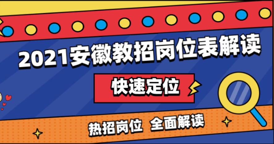 2021年安徽省中小学新任教师招聘考试岗位表解读